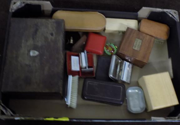 Selection of mixed collectibles including paper weights, wooden boxes, hairburshes and razors