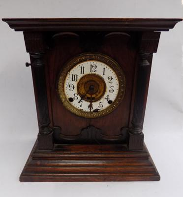 Vintage English manufacture Fattorini & sons mantle clock with key & pendulum