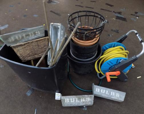 Collection of garden planters & hose reel
