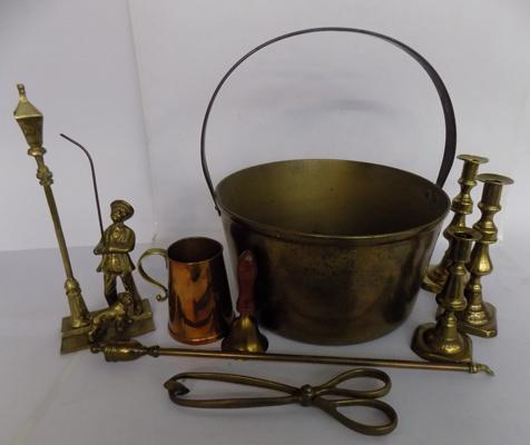 Selection of brassware including Jam Pan, candlesticks etc.
