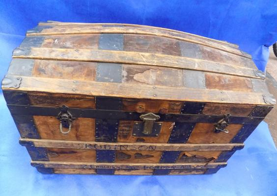 Antique large wooden travel trunk-34 inches wide