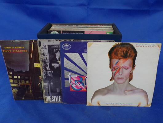 Box of records incl. Bowie, T Rex and Jam