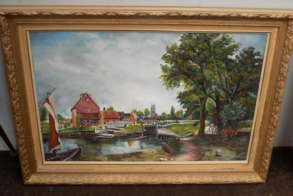 Oil painting of canal scene, signed