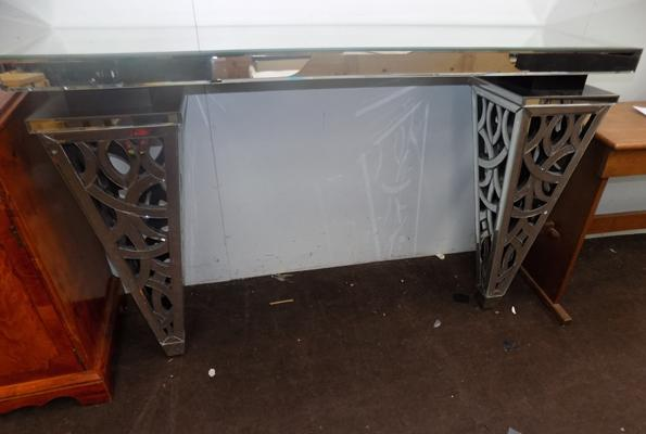 "Cut glass mirrored hall table - as new. RRP £799. Size 36"" x 6"" x 55"""
