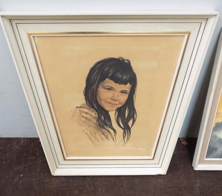 Painting of girl in unusual frame, signed by artist