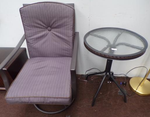 Swivel chair & side table