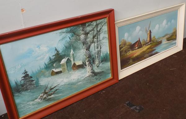 2 oil paintings, signed by the artists