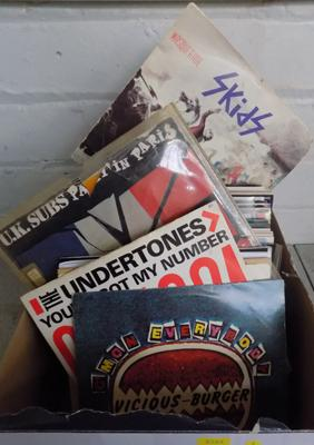 Box of singles-Punk, Rock, Indie inc Pistols,Clash, Stranglers, Undertones etc