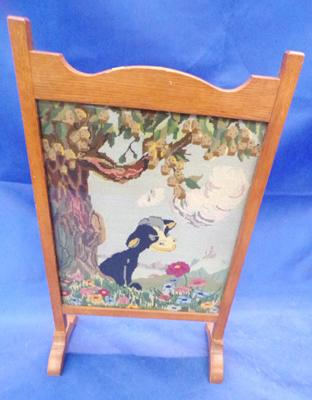 Fire screen with tapestry