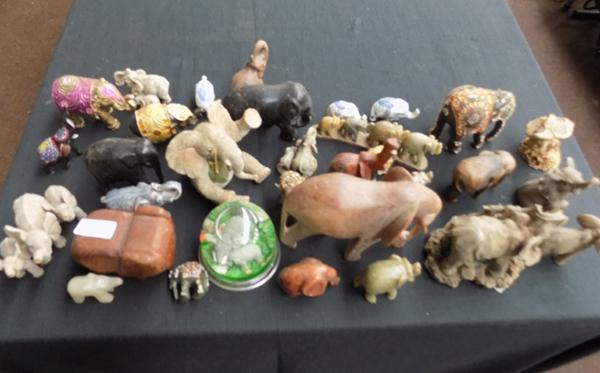 Large selection of ornamental elephants