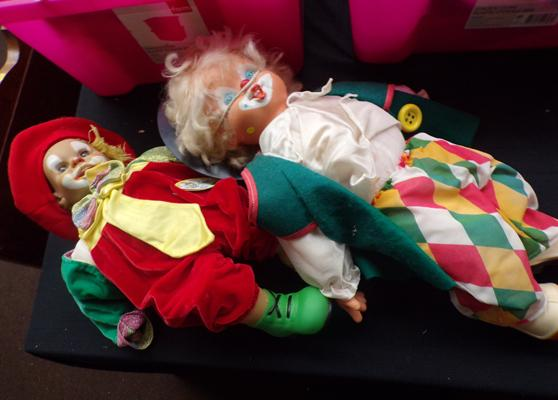 2x Large clown dolls