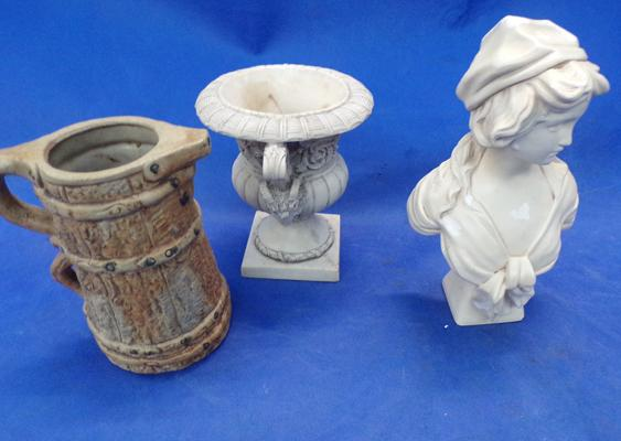 Urn, figure and jug