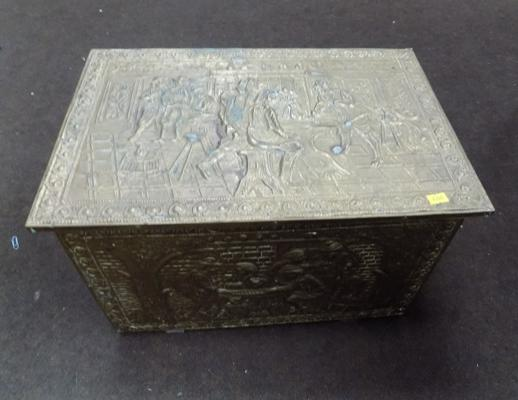Vintage brass slipper box