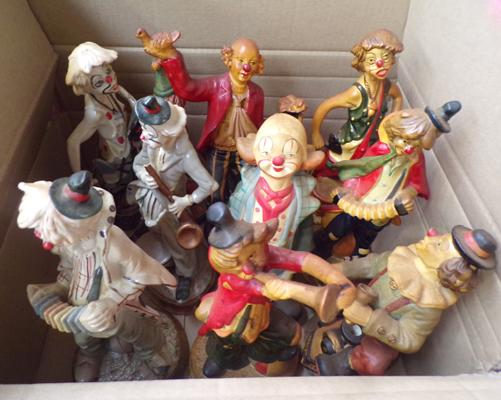 Collection of 10 ceramic clown figurines