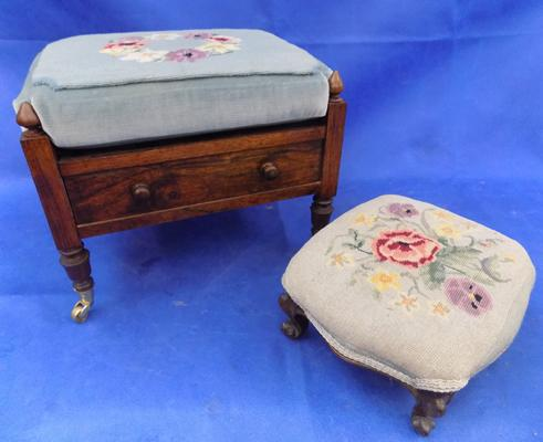 Vintage foot stool & stool on castors