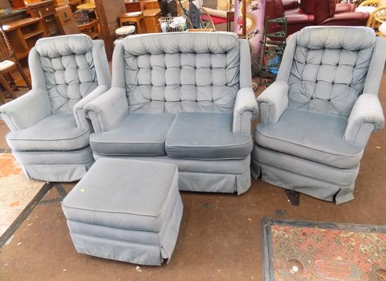 Small 2 seater  settee, matching rotating chair & buffet + extra covers