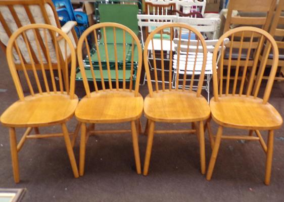 4 pine spindle back chairs