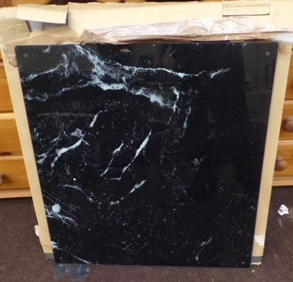 Black Marble effect glass splash back