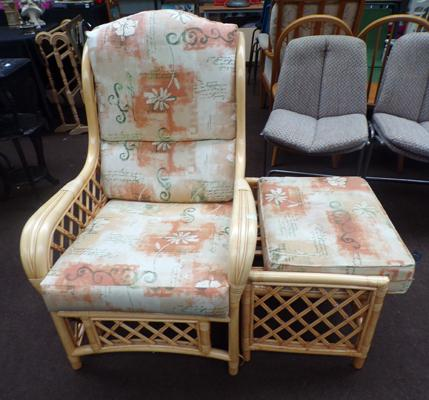 Wicker chair and stool