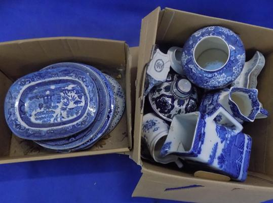 2 boxes of blue and white pottery