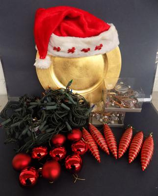 Box of Christmas items