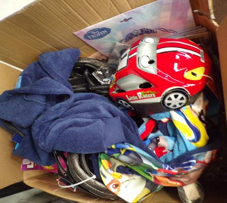 Box of new items including cycle helmets
