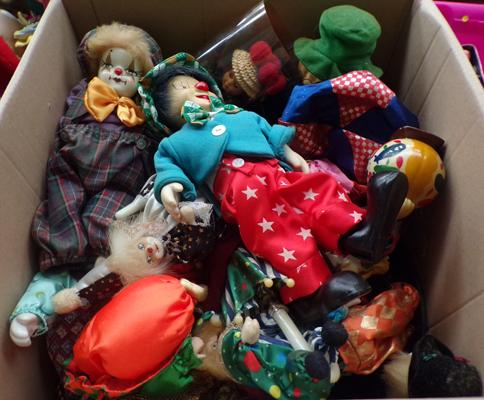 Large box of clown dolls etc