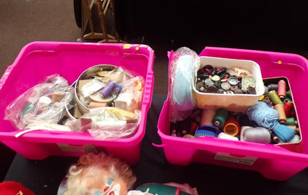 2x Boxes of mixed sewing items inc threads, ribbon, buttons etc