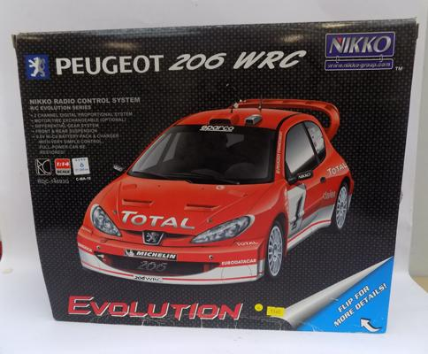 Nikko remote control boxed with instructions, Peugeot 206 lorco rally car RDC