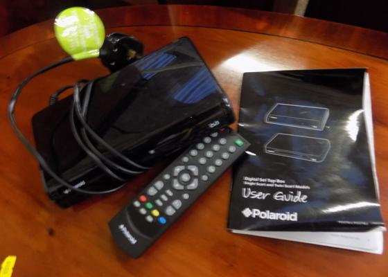 Polaroid digital set top box with remote and instructions
