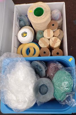 2 boxes of textile rolls and knitting items
