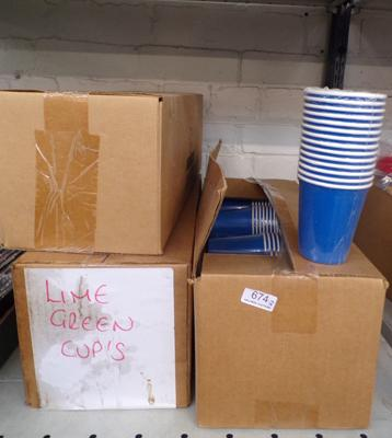 Boxes of disposable cups