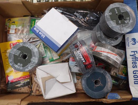Box of new DIY products incl. sanding discs etc.