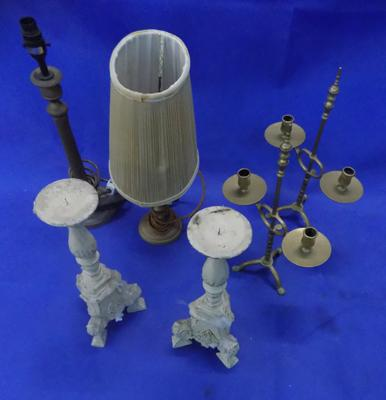 4 candle holders incl; antique brass table lights