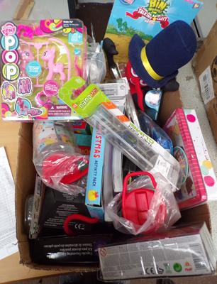 Box of new toys and games