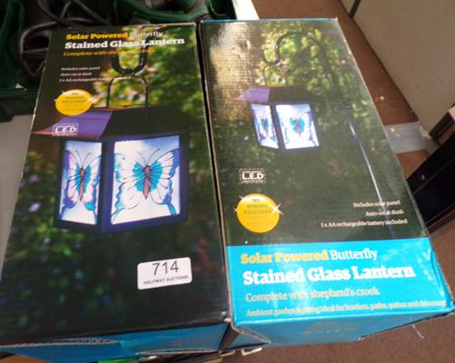 2 LED stained glass lanterns