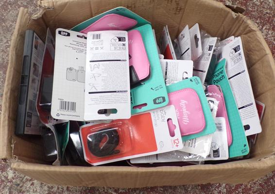 Box of mixed new phone pouches