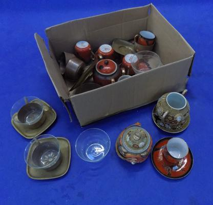 Box of items including brass