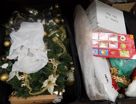 2 cases of various Christmas decorations