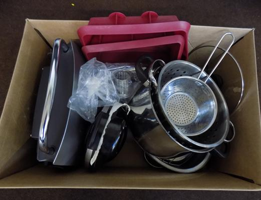 Box of kitchenware including George Forman and Waffle maker in W/O
