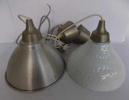2 industrial style light shades/fittings