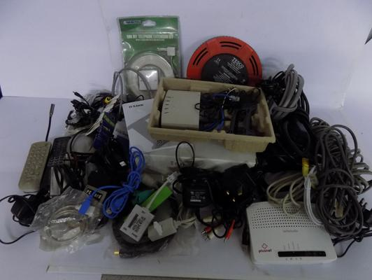 Box of computer, phone, TV, cables etc