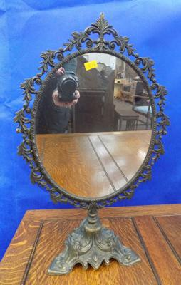 Brass vintage dressing table mirror