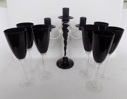 7x coloured glass flutes and candelerbra