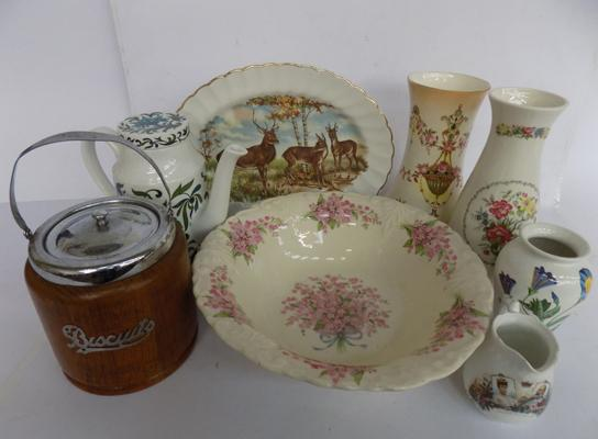 Box inc Crown Devon, Portmeirion, midwinter coffee pot, vintage biscuit barrel etc