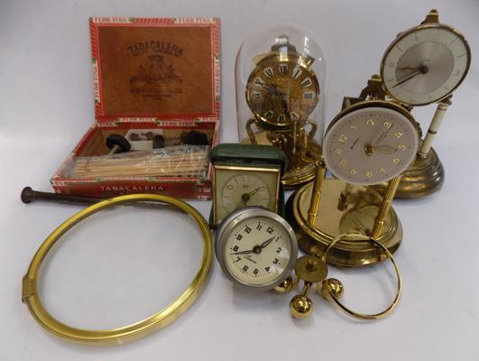 Box of clocks & clock parts