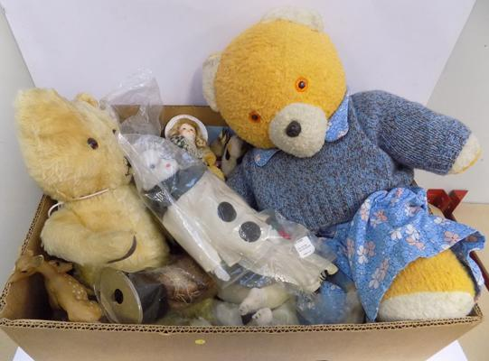 Box of vintage bears-Deans, china head doll + very large quantity of dolls clothing & accessories