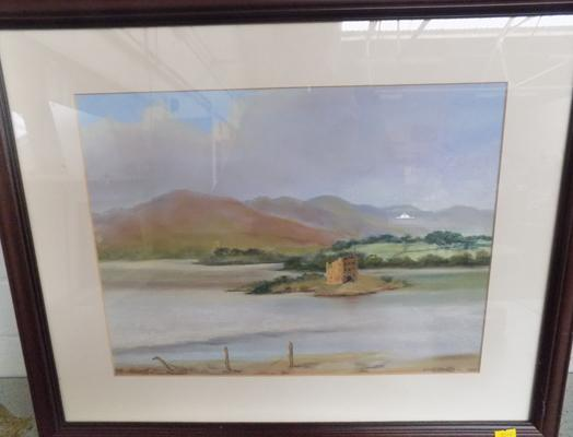 Vintage pastel of Castle Stalker by Jean Smith-signed on back