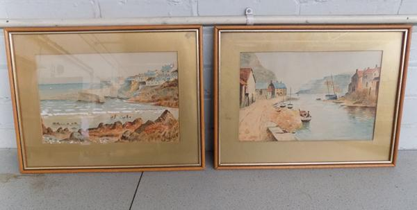 Pair of watercolours by HU Hudson-scenes of Yorkshire