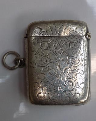 Antique white metal vesta case